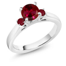 1.24 Ct Round Red Created Ruby Ruby 14K White Gold Engagement Ring