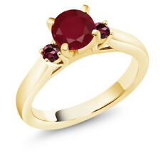 1.29 Ct Round Red Ruby Rhodolite Garnet 18K Yellow Gold Plated Silver Ring