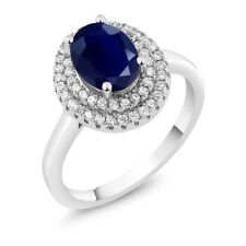 2.99 Ct Oval Natural Blue Sapphire 925 Sterling Silver Ring