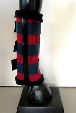 Horse Fly Mesh Boots Set of 4 Red & Navy Australian Made Summer Protection