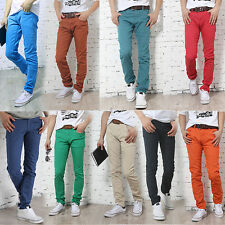 Fashionable Men's  Candy Color Slim Fit Casual Pants Skinny Stretch Pencil Jeans