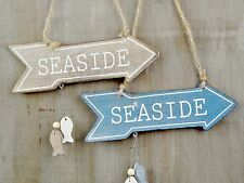 NEW WOODEN SEASIDE ARROW SIGN WITH FISH NAUTICAL WHITE BLUE CHIC SHABBY PLAQUE