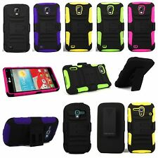 Hybrid Hard Soft Holster Kickstand Belt Clip Case Cover For Many Smart Phones