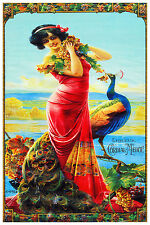 2847.Brunette Woman with Peacock POSTER.Art Nouveau.Room Home Wall decoration