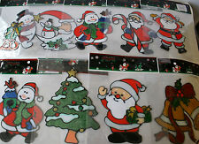 Christmas Window Gel Stickers Decoration Snowman Father Christmas Tree Bells