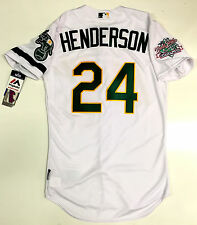 RICKEY HENDERSON AUTHENTIC OAKLAND A's 1989 WORLD SERIES MAJESTIC JERSEY