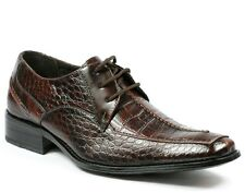 Delli Aldo Men's Crocodile Print Lace Up Oxford Dress Classic Shoes M-18625