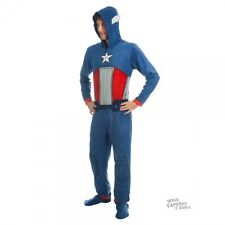 Captain America Costume Marvel Adult Licensed Union Suit One Piece Pajama S-XXL