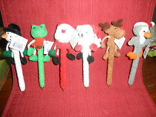 Christmas Ink Pins with cute little critters on them!  Santa Hats or Scarfs NEW
