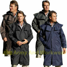 Mens Long Full Length Waterproof Riding Rain Jacket Country Coat with cape NEW