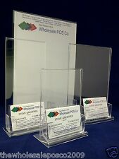 ACRYLIC POSTER, MENU & BUSINESS CARD HOLDERS DISPLAY STAND A4, A5, A6 & DL SIZES