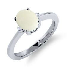 1.09 Ct Oval Cabochon White Simulated Opal White Topaz 18K White Gold Ring