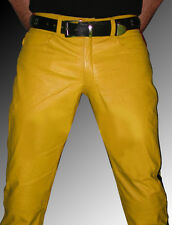 leather pants yellow, black stripes Police trousers leather gay uniform