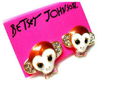 E31 Betsey Johnson Exquisite Cute Monkey Chimp Chimpanzee Crystal Earrings US