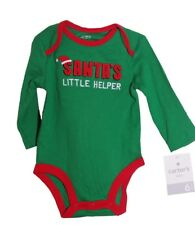 Carters Boy Santas Little Helper Elf Shirt 1 piece Christmas NB 3 6 9 months NEW