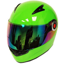 New Youth Kids Motorcycle Full Face Helmet Glossy Solid Green Size S M L XL