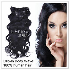 100% Real Remy Clip-In Human Hair Extensions Body Wave Hair piece 100g/set