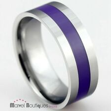 8mm Mens Tungsten Carbide Navy Silicon Inlay Band / Wedding Ring Size 7-13 (075)