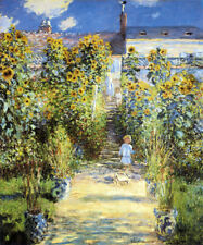 THE ARTIST'S GARDEN AT VETHEUIL 1880 CHILDREN FLOWERS BY CLAUDE MONET REPRO
