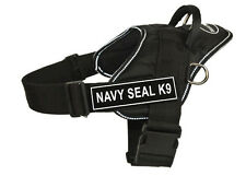DT FUN Dog Harness in Reflective Trim with Velcro Patches NAVY SEAL K9
