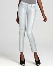 7 FOR ALL MANKIND The Slim Cigarette Wax Jeans in Pearlized Blue Star $225