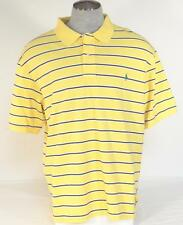 Ralph Lauren Yellow & Blue Stripe Short Sleeve Polo Shirt Green Pony Mens NWT