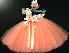 peachy Tutu Dress, Matching Headband.great for weddings special occasions