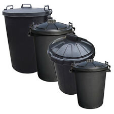 Outdoor Plastic Waste Trash Can Rubbish Bin Black Heavy Duty 80L 110L Clip Lids