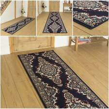 Turkesh Blue - Hallway Carpet Runner Rug Traditional Hall Extra Very Long Cheap