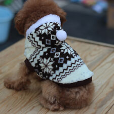 Christmas Dog Clothes Pet Cat Snowflake Sweater Warm Hoodie Apparel Coat Outwear