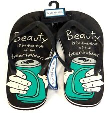 Be As You Are Beauty Is In The Eye Of The Beerholder Flip Flop Sandals Mens NWT