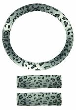 Velour Wild Leopard Steering Wheel Cover & Seat Belt Shoulder Pad Combo