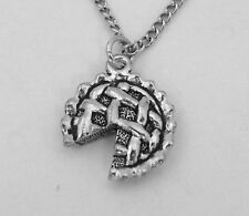 Pewter Apple Pie Pendant on a Silver Plated Link Chain Necklace -5247
