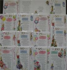 Special Year Birthday Cards for 18 21 30 40 50 60 65 70 80 90 100 Male & Female