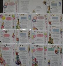 2015 Special Year Birthday Cards 18 21 30 40 50 60 65 70 80 90 100 Male & Female