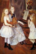 THE DAUGHTERS OF CATULLE MENDES PLAYING PIANO VIOLIN MUSIC 1888 BY RENOIR REPRO