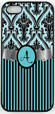"""Rikki Knight Letter """"A"""" Initial Sky Blue Damask and Stripes Monogrammed Case for"""