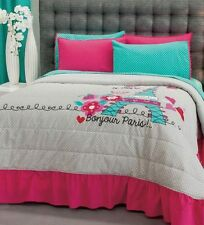 New Teens Girls Aqua Blue Pink Gray Love Paris Bedspread Bedding Sheet Set