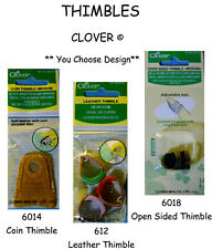 NEW CLOVER THIMBLE * Your Choice Style * Leather - Coin - Open Sided Thimbles