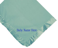 CUSTOM NAME  EMBROIDERY FLEECE BLUE BABY BLANKET NAVY BLUE BLOCK LETTERS