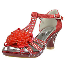 Girl's Evening T-Strap Beaded Rhinestone Glitter High Heel Sandals Red Kids Size