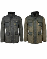 New Mens Crosshatch Fellows Tweed Coat Quilted Collared Zip Winter Jacket