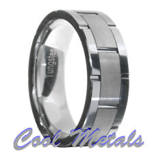 Brushed Tungsten Carbide Grooved Men Women Wedding Band Ring Size 7-15