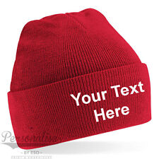 Personalised Adult Cuffed Woolly Knit Ski Beanie Hat with Name Slogan
