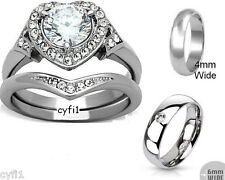 Stainless Steel 3 Pc His Her Hers Cz Brilliant Cut Bridal Wedding Band Ring Set