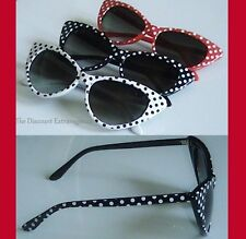 Hollywood Star Vintage Style Red White or Black Polka Dot Sexy Cat Eye Glasses