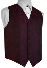ITALIAN DESIGN BERRY PAISLEY TUXEDO VEST. SIZES XS-6XL
