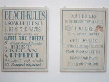 """BEACH RULES."" WOODEN NAUTICAL SHABBY CHIC WALL SIGN BATHROOM PLAQUE ""SEASIDE"""