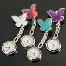 Stainless Steel Butterfly Nurse Clip-on Hanging Fob Brooch Pocket Watch Fobwatch