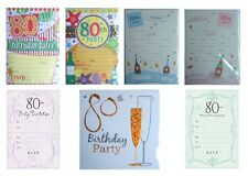 80th BIRTHDAY (Age 80) Party INVITATIONS & Envelopes - Large Range of Designs